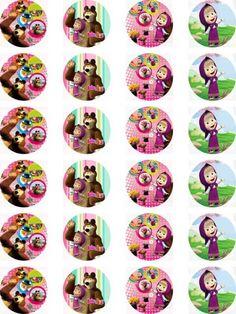 Masha and the Bear Edible Wafer Card 24 Precut Cupcake/Fairy cake Toppers