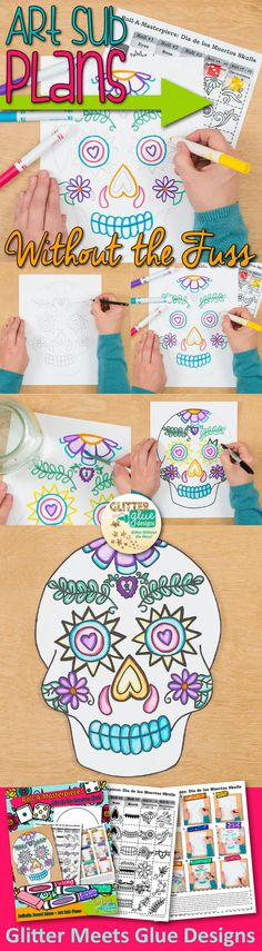 Dia de los Muertos Sugar Skull | Day of the Dead Crafts | Teach your students about Mexican art and culture in an exciting way by playing this roll-a-dice game! Students will create a symmetrical design then paint it with markers.
