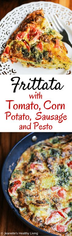 Tomato Corn Potato Sausage Pesto Frittata - this is perfect for breakfast or brunch ~ full of summer produce, this frittata is healthy and delicious ~ http://jeanetteshealthyliving.com