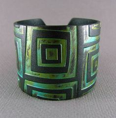 Silver Cuff Bracelet Polymer Clay Jewelry Verdigris Patina Turquoise Cuff Urban Industrial Wide Cuff Hand Stamped