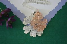 Double Oak Leaf Necklace Lacey Oak Leaf Necklace by lauralidesigns