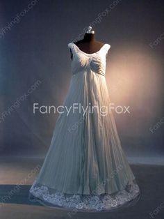 Scoop Neckline Gray Chiffon Empire Full Length Maternity Prom Dresses With Lace at fancyflyingfox.com