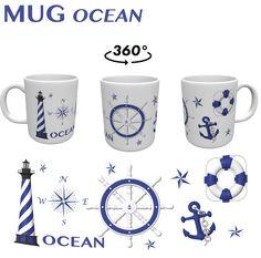 MUG OCEAN, MER.TASSE CERAMIQUE. TIRELIRE. DECORATION MARINE. CADEAU