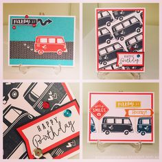 These cards are created by Denise Tarlinton, CTMH Manager. using the fabulous new Stamp of the Month, The Long Way Home. The stamp set features a wonderful selection of fun vehicles and funky signs, icons and sentiments. Use the stamps to create your own travel pages and mini albums! This set is perfect for cards, gift bags, tags and scrapbooking layouts. Grab it only in June 2016 for $27 or for just $7.50 when you make a purchase of $75 or more at http://scrapstampshare.ctmh.com.au
