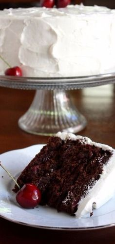 Cherry Chocolate Cake with Cherry Vanilla Buttercream - Completely Delicious
