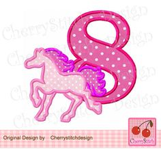 Birthday number 8 with horse,horse Silhouette Digital Applique -4x4 5x7 6x10-Machine Embroidery Applique Design by CherryStitchDesign on Etsy