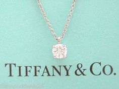 Tiffany co platinum 100ct i vvs1 lucida diamond solitaire pendant tiffany co platinum solitaire diamond pendant necklace 026ct aloadofball Images