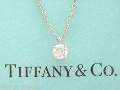 Tiffany & Co. Platinum Solitaire Diamond Pendant Necklace 0.26CT