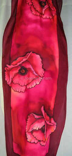 "Red Poppies Silk Scarf.  Hand painted silk scarves.  15"" x 58"".  Free gift wrapping."