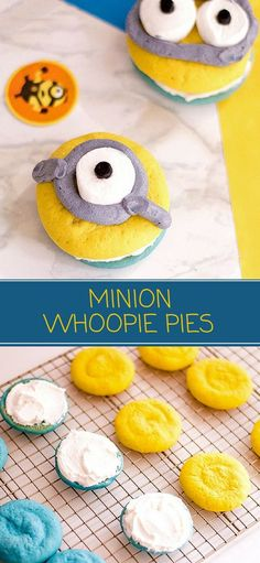 Minion Whoopie Pies are the most adorable sweet treat EVER! Fun to eat as they are to make, kids and adults alike will love these. Perfect as an after-school snack or for a Minion birthday party! #whoopiepies #kidscrafts #minions #party #cartoons #bakedgoods