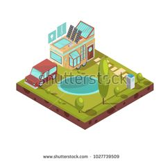 Stock Photo: Campsite and mobile house with glass roof solar panels icons with technologies near pond isometric illustration