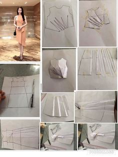 "Новости ""From design to pattern: from the basic dress shape to drape to pattern"" Techniques Couture, Sewing Techniques, Pattern Cutting, Pattern Making, Dress Sewing Patterns, Clothing Patterns, Sewing Clothes, Diy Clothes, Sewing Tutorials"
