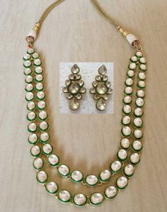 22K GOLD PLATED BRIDAL KUNDAN  BOLLYWOOD JEWELRY NECKLACE SET WITH EARRINGS