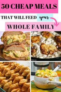 Are you looking for some cheap family meals that will actually fill you up? Here is a list of 50 Cheap Family dinners that will help you stay full and on budget. These family dinner ideas will have th Frugal Meals, Budget Meals, Easy Meals, Budget Recipes, Cheap Recipes, College Recipes, Easy Budget, Inexpensive Meals, Fast Recipes