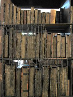 """Rowling's inspiration for the """"restricted section""""? Hereford Cathedral Chained Library, Hereford, England (Rare books were once kept chained to the bookshelf to prevent stealing. Old Books, Antique Books, Vintage Books, I Love Books, Books To Read, Hereford Cathedral, Book Art, Medieval Life, Medieval Books"""