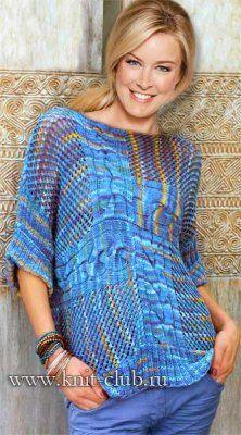 Оригинальный вязаный пуловер спицами - схемы вязания