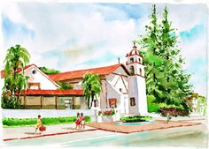 Mission San Buenaventura (Ventura, CA), pinned from californiamissionprints.com
