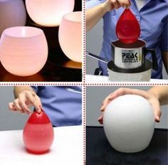 Water balloon dipped in wax, let it dry then pop the balloon - and you got yourself a neat candle holder