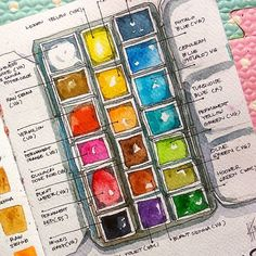 Refreshing my watercolor paint swatches in the smaller tin box. Hopefully will gives a new feelings to upcoming works. Watercolor Pallet, Watercolor Kit, Watercolor Painting Techniques, Watercolor Sketchbook, Watercolour Tutorials, Painting Tips, Watercolour Painting, Watercolours, Paint Brush Drawing