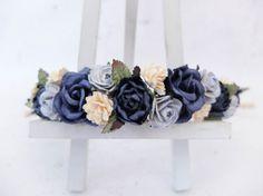 Flower crown navy dusty blue ivory flower headpiece by musefleur