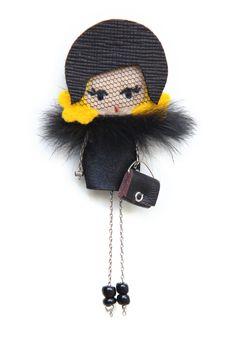 Marlene Dietrich # felt dolls # brooche doll # custom doll # minimis