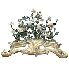 French 19th Century St. Cloud Porcelain Tole Floral Centerpiece | From a unique collection of antique and modern centerpieces at https://www.1stdibs.com/furniture/dining-entertaining/centerpieces/