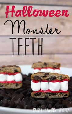 Your kids will love this fun Halloween inspired treat. All you need are chocolate chip cookies, red icing & mini marshmallows