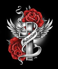 Salvation Cross Wallpaper, Gothic Wallpaper, Rose Design, Design Art, Cross With Wings Tattoo, Wooden Clothespin Crafts, Rose Drawing Tattoo, Lion Tattoo Sleeves, Cross Pictures