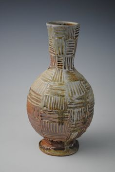 """Jake Johnson - Carved and Woodfired Stoneware Vase, 8"""" tall"""