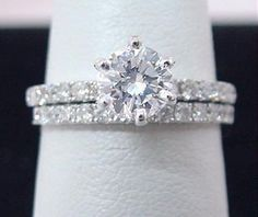 Bridal Wedding Ring and Band 14k White Gold