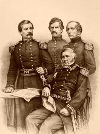 Union Generals Winfield Scott, George McClellan, Nathaniel Banks, and John Wool, 1861