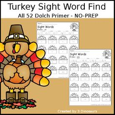 3 Dinosaurs - Turkey Sight Word Find - All 52 Dolch Primer Sight Words. First Grade Sight Words, Dolch Sight Words, Second Grade, Sight Words Printables, Thanksgiving Activities For Kids, Teacher Newsletter, Teacher Pay Teachers, Fourth Grade, Book Activities