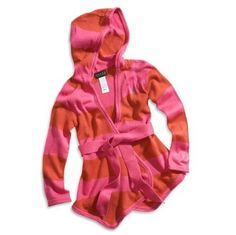 GUESS Little Girl Striped Hooded Cardigan, DARK P ($42.50)