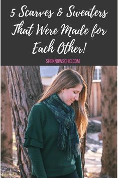 5 Scarves & Sweaters That Were Made for Each Other! – She Knows Chic  Plaid scarf outfit, how to wear a plaid scarf, plaid scarf green and blue, ruffle sweater outfit, green ruffle sweater, winter outfit ideas, teacher outfit, scarf and sweater outfit
