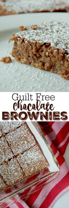 Sometimes you just need a chocolate treat without all the guilt. I've saved the day, these Guilt Free Chocolate Brownies are a hit. Healthy Desserts, Easy Desserts, Delicious Desserts, Dessert Recipes, Sweet Desserts, Healthy Treats, Eating Healthy, Yummy Recipes, Healthy Recipes