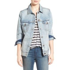 Women's Treasure&bond Relaxed Denim Jacket ($89) ❤ liked on Polyvore featuring outerwear, jackets, gravel light vintage, vintage denim jacket, net jacket, vintage jackets, denim jackets and jean jacket