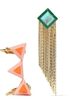 Fendi - Gold-tone Stone Earrings - Orange - one size