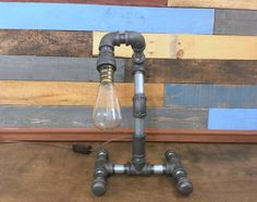 Industrial Pipe Lamp, Man Cave, Industrial Lamp, Industrial Decor, Reading Lamp…