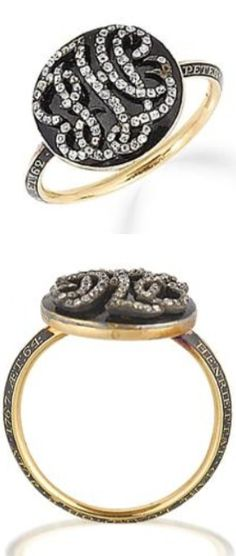 *An 18th century black enamel and diamond mourning ring The circular black enamel plaque applied with entwined old brilliant-cut diamond intials 'PHL', with a glazed hairwork compartment on the reverse, on a black enamel bevelled hoop, hoop inscribed on one side 'PETER.ABR.LUARD.OB.22.FEB.1765.AET 62' and on the other side 'HENRIETTA.GABL.LUARD.OB.2.JULY.1767.AET 64'.