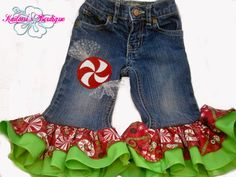 Peppermint Candy Double Ruffle Christmas Applique Upcycled Ruffle Holiday Jeans. $26.00, via Etsy.