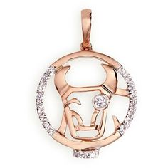 LC Collection Diamond 18k rose gold Chinese zodiac pendant - Ox ($580) ❤ liked on Polyvore featuring jewelry, pendants, metallic, rose gold jewelry, charm pendant, pendant charms, diamond pendant jewelry and rose gold diamond jewelry