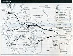 Oregon Trail / California Trail / Sante Fe Trail / Old Spanish Trail / Mormon Trail. Church History, Us History, Family History, American History, Mormon History, History Class, 5th Grade Social Studies, Social Studies Activities, Teaching Social Studies