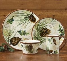 Walk In The Woods Dinnerware by Park Designs. The Dinnerware Collection features pine boughs with & pine cone dishes | Walk in Woods Pine Cone Lodge Dinnerware set ...