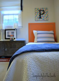 Boy's blue and orange shared bedroom by Simplicity In The South Ikea Ps Cabinet, Boys Bedroom Decor, Kid Bedrooms, Boy Rooms, Bedroom Ideas, Shared Boys Rooms, Wooden Bunk Beds, Bedroom Orange, Kids Room Design