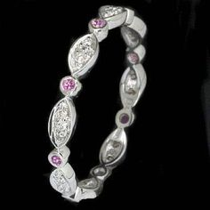 ETERNITY DIAMOND FANCY PINK SAPPHIRE PLATINUM BAND RING   (BTW Honey, this is a platinum band)