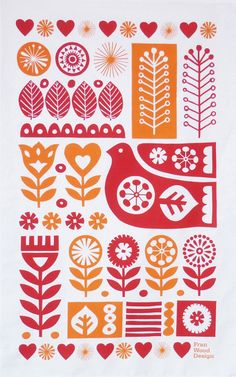 franwooddesign: Scandinavian Retro Textiles - Bird and Flower Tea TowelThis is my own design that has been screen printed onto a tea towel. It's based on Scandinavian folk art and sketches I made of plants and flowers.You can see this and more of my designs in my online shop Fran Wood Design at Folksy and Etsy.