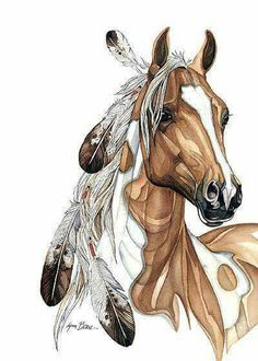Draw Horses Horse art, Paint pony with feathers in it's mane. American Art, Native Art, Animal Art, Animal Drawings, Western Art, Drawings, Indian Art, Horse Drawings, Art