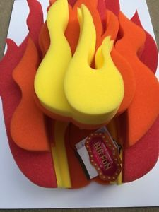 Chris March Fun Light Up Flame Foam Wig Hat Fire Target New