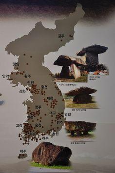 The Ganghwa dolmen in Korea. Map of dolmen in Korea.