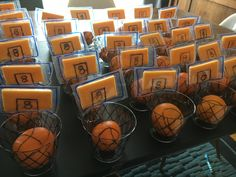 Basketballs and Nets - Slam Dunk! Target Market Pantry Cheddar Cheese, Cutie Oranges, and clear cups.